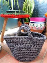 Capazo de trapillo a crochet
