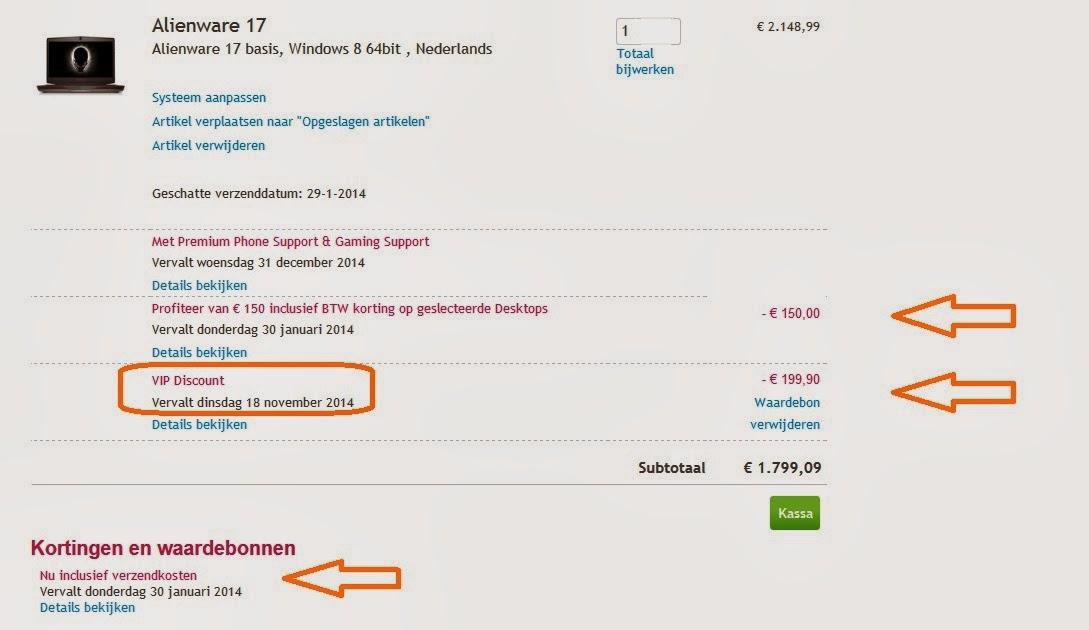 Dell VIP Club 10% kortingscode. Alienware 17 waardebon 2014