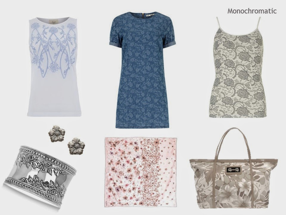 monochromatic floral prints in clothing and accessories