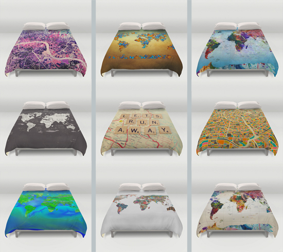Map Theme Duvet Covers