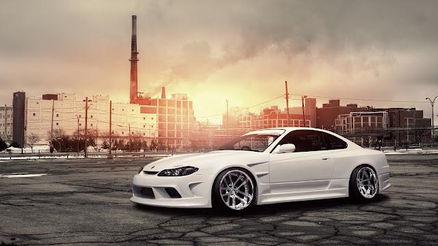 Nissan Silvia S15 White Car HD Wallpaper