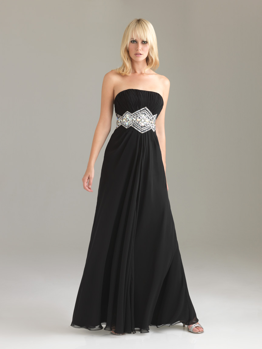 Fashion world black a line strapless floor length for Floor length gowns