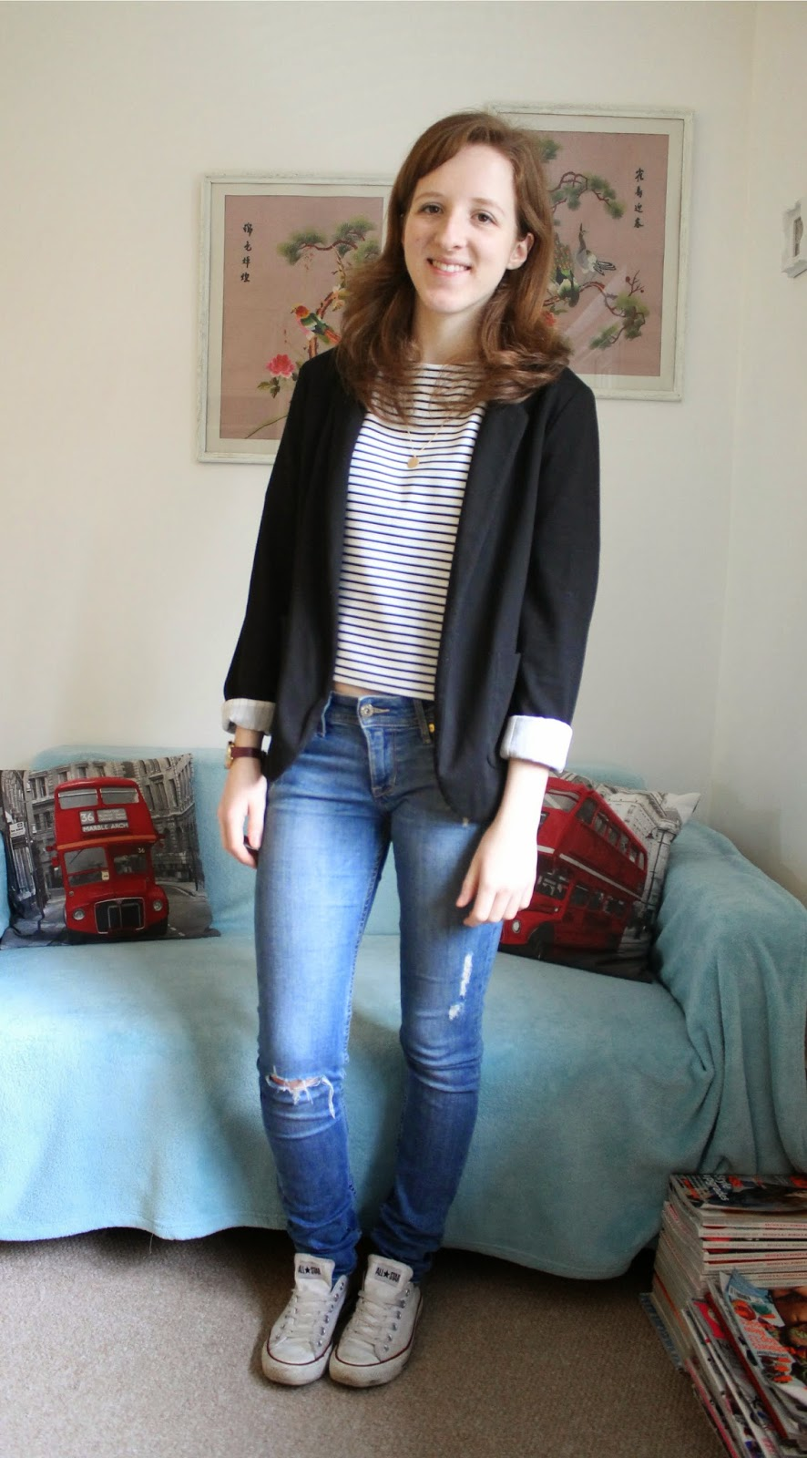 OOTD: Cropped T-Shirt and Blazer