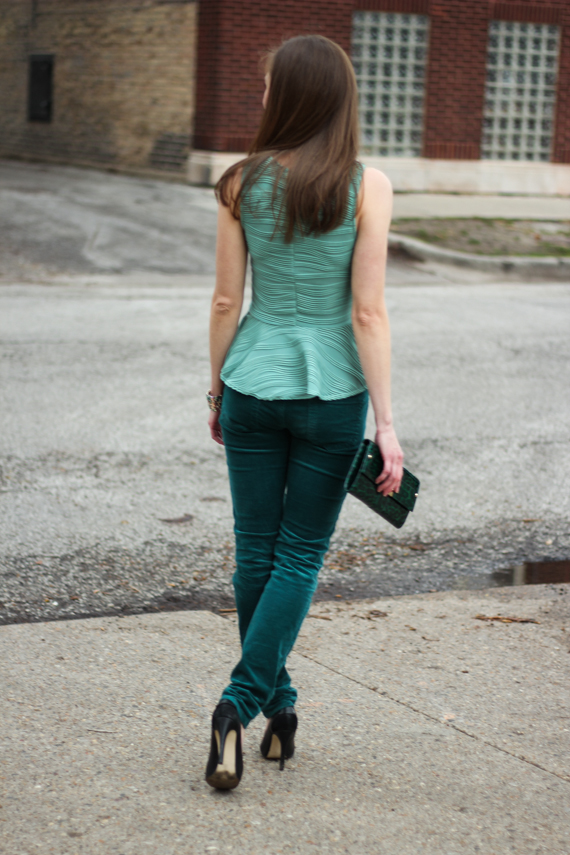 StyleSidebar - Rear View Green Peplum, Green Cords, Black Suede and Snake Pumps