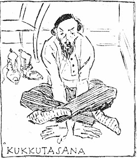 Drawing of man in kukkutasana from March 27, 1898 New York Herald