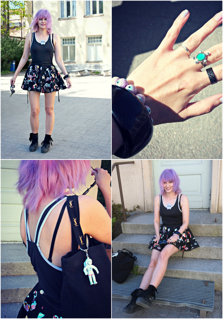 pastel punk, space print, pastel hair