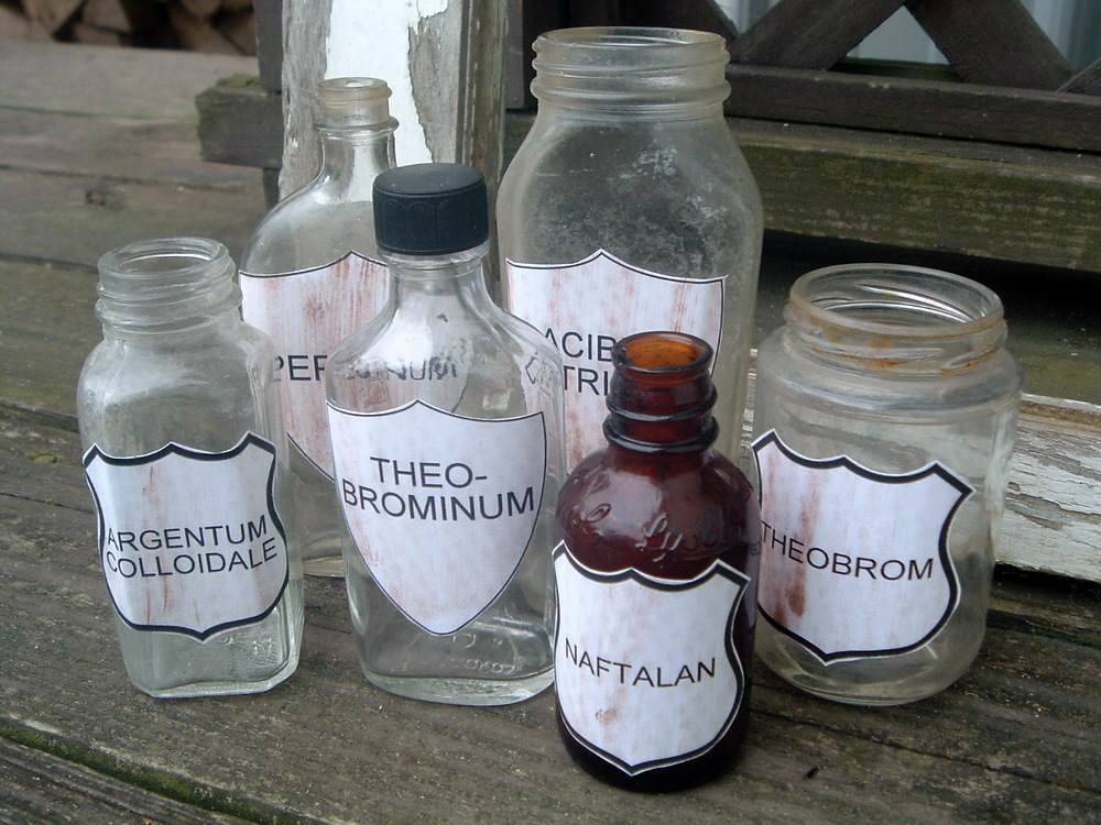 apothecary jars with labels