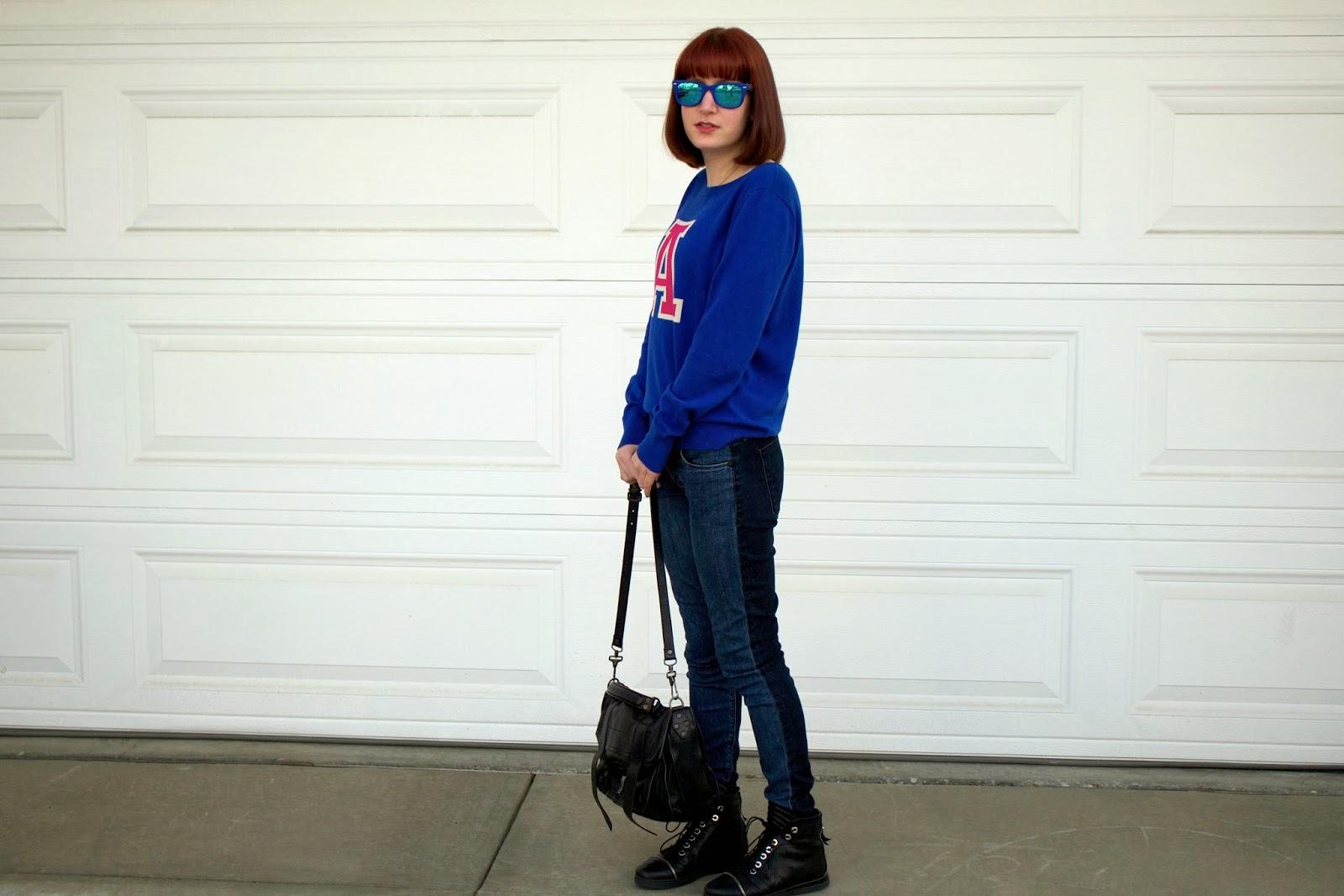 monogram sweater, letter sweater, hudson jeans, mirrored ray-bans, stuart weitzman zipit, ps1
