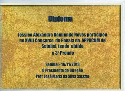 3º LUGAR NO XVIII CONCURSO DE POESIA DA APPACDM DE SETÚBAL (NOVEMBRO 2013)