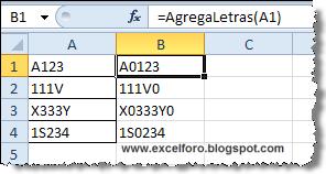 VBA: Función personalizada para agregar un caracter