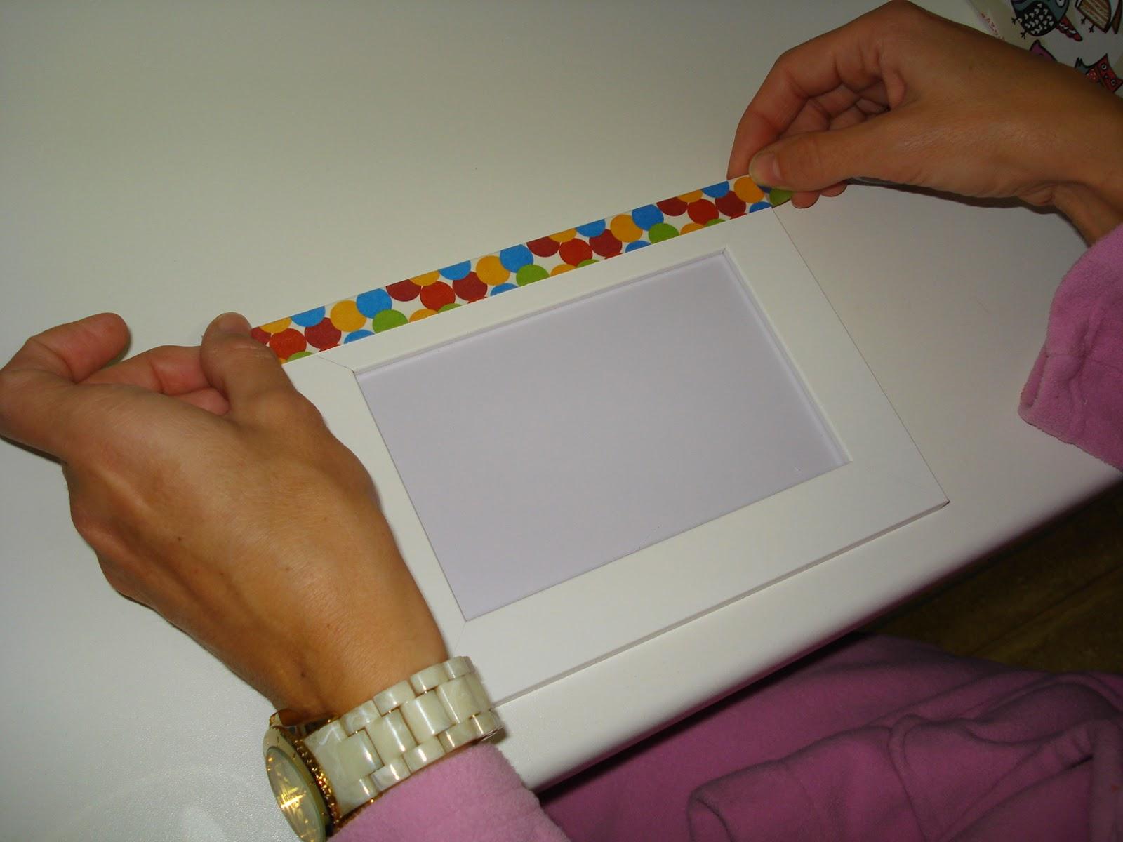 La nube de eli c mo decorar un marco de fotos con washi tape - Como decorar un marco de fotos ...