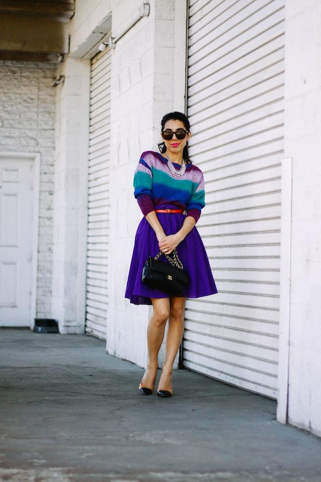 Spring sweater, color block, zara cap toe heels, cap toe pumps, chanel 2.55, karen walker super duper, maybelline vivid,