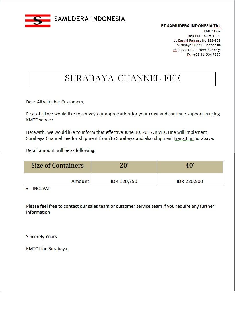 IMPLEMENTATION SUB CHANNEL FEE (SCF)