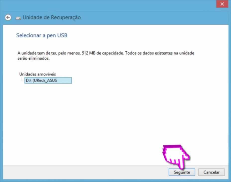 Recuperar Windows - Selecionar dispositivo amovivel de armazenamento