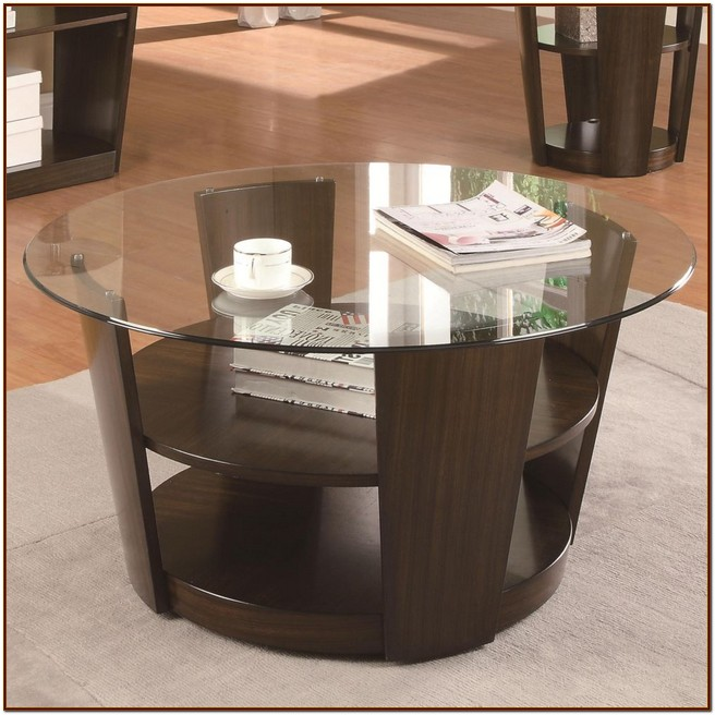 Stunning round coffee table with shelf