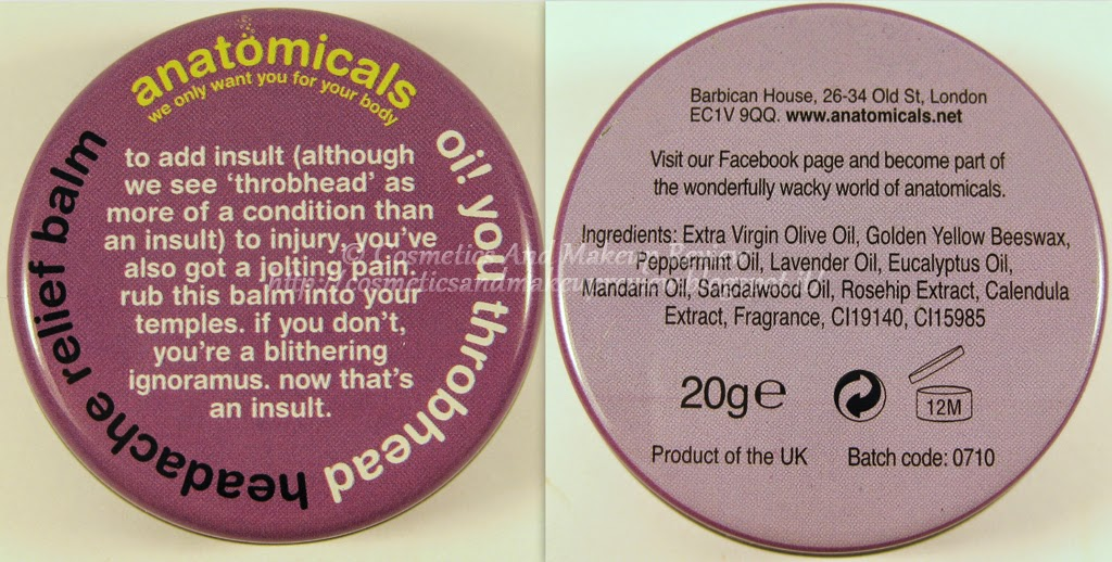 Anatomicals - Oi! You Throbhead - Headache Relief Balm - packaging
