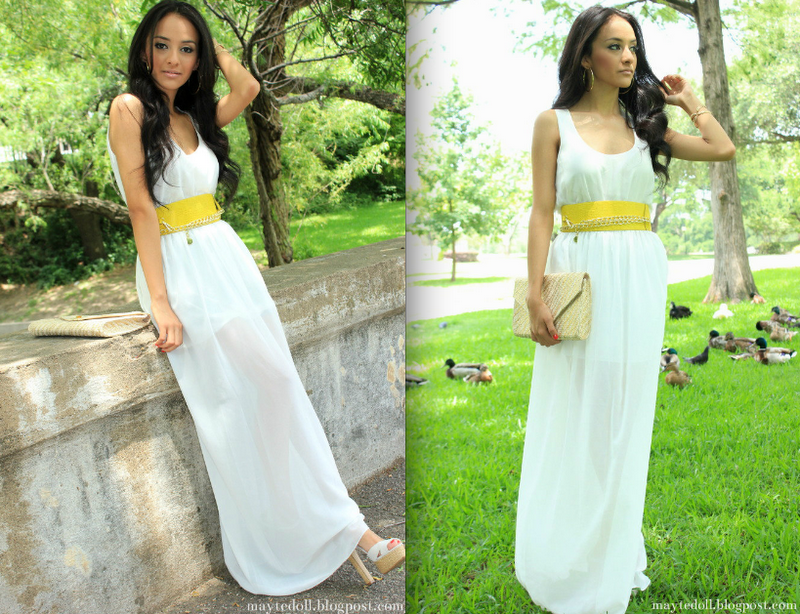 Shoes with white maxi dress