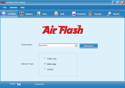 Tampilan Dashboard Air Flash AH009 Smartfren EVDO Rev A Unlock Dualband