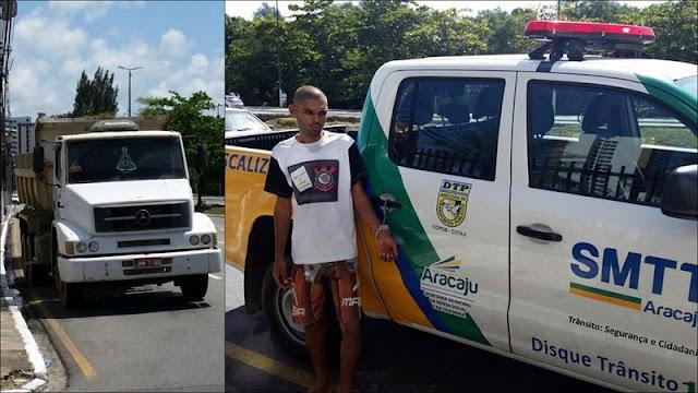 Homem que conduzia caçamba bêbado é detido por agentes da SMTT