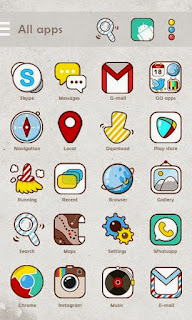 Screenshots of the Funny Flat GO Launcher Theme for Android mobile, tablet, and Smartphone.