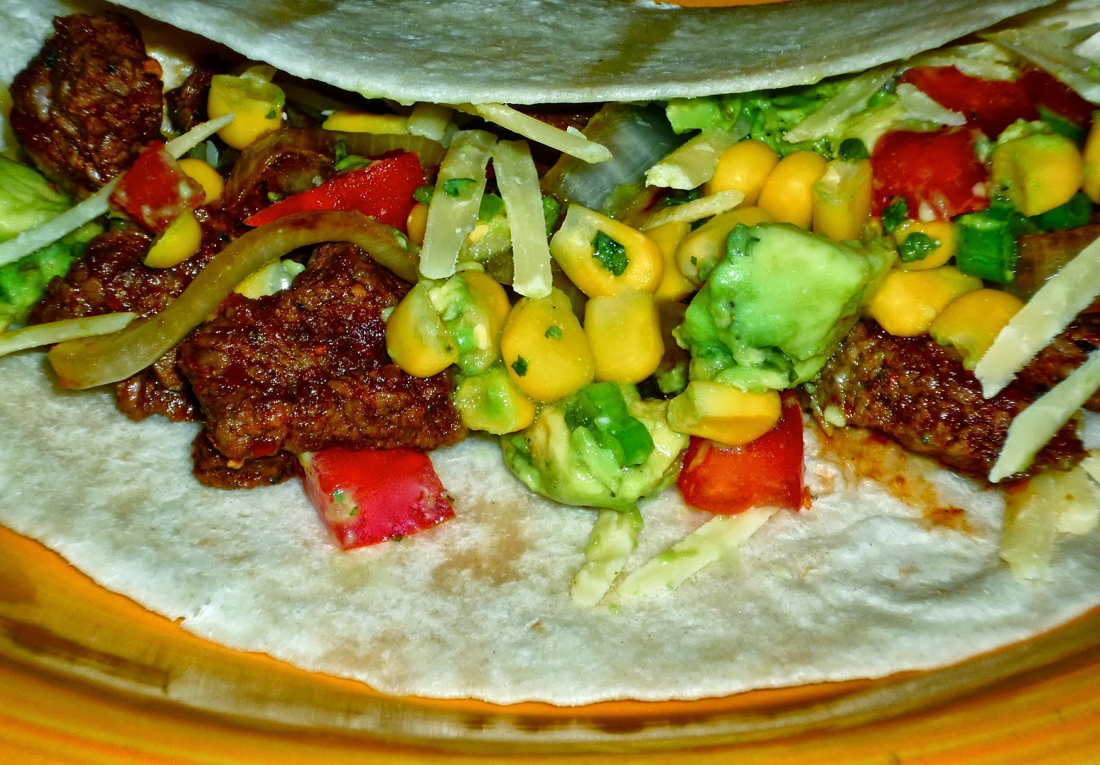 Steak Soft Tacos with Corn-Avocado Salsa...Featuring Laura's Lean Beef