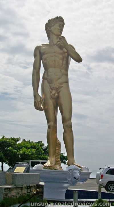 giant golden replica of Michelangelo's David in Davao City