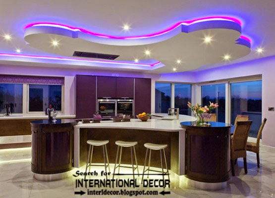 Modern false ceiling design for kitchen with led lights aloadofball Images