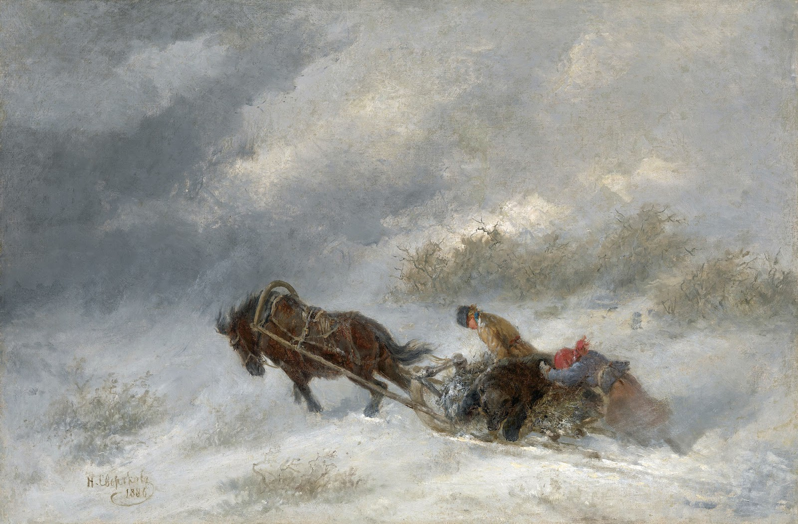 Bear hunters in the blizzard 1886