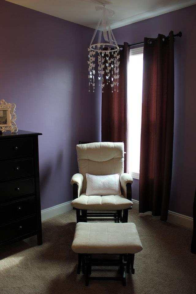 I Decided To Go With A Purple Wall Color And White Butterflies To Accent. We