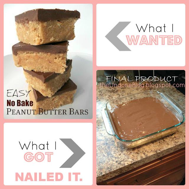 Undone Blog:  Practicing Pinterest - Easy No Bake Peanut Butter Bars Edition