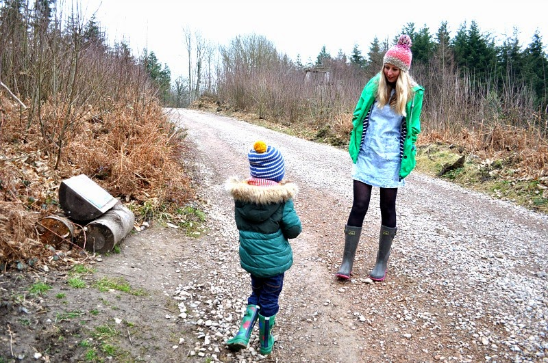 women and kids Joules wellies and woodland walk adventures