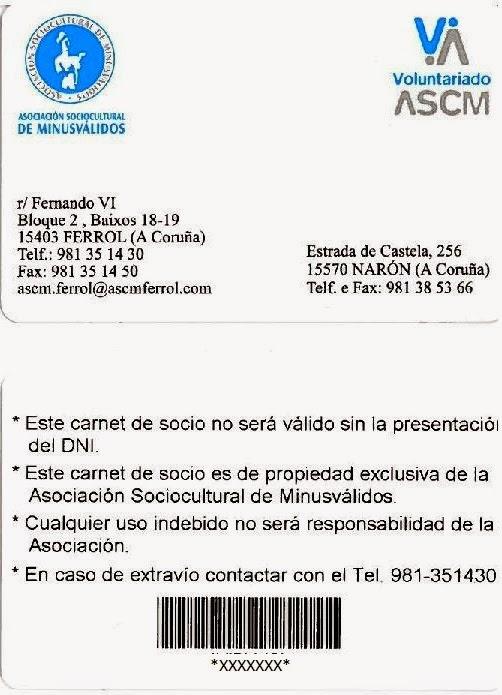 CARNET DE SOCIO DE LA ASCM