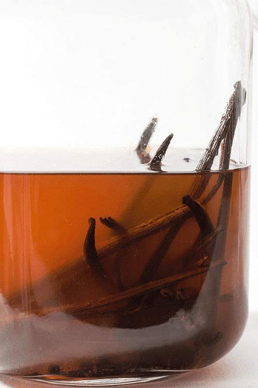 Homemade vanilla extact side shot in jar