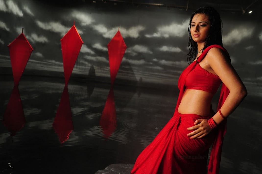 Isha Chawla Hot Red Saree Stills