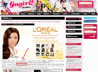 Mentioned in GoGirl for L'oreal Star Blogger Campaign: