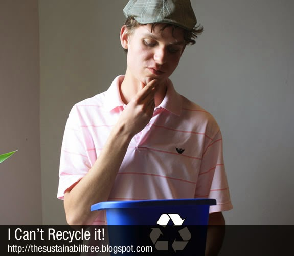 A student ponders if something can be recycled