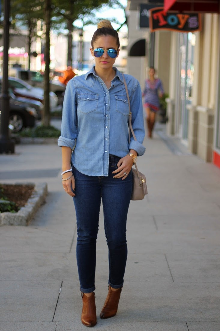 Denim on Denim with Frye Ankle Boots