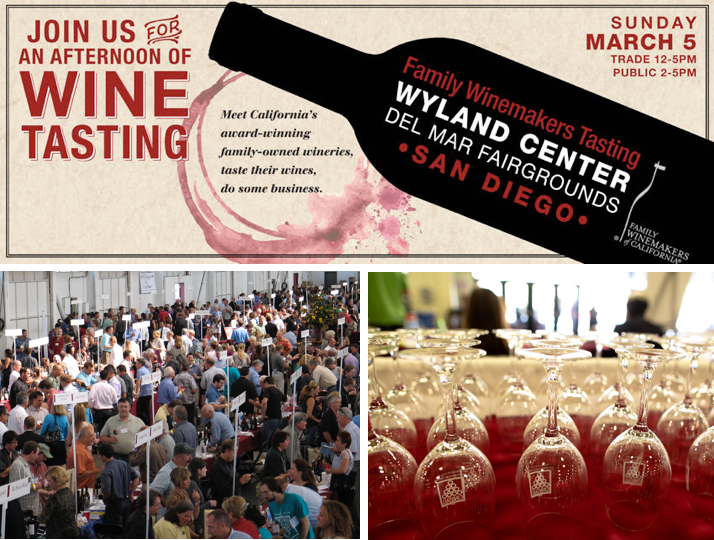 Promo code SDVILLE saves on tickets to the Family Winemakers of California San Diego Wine Tasting!