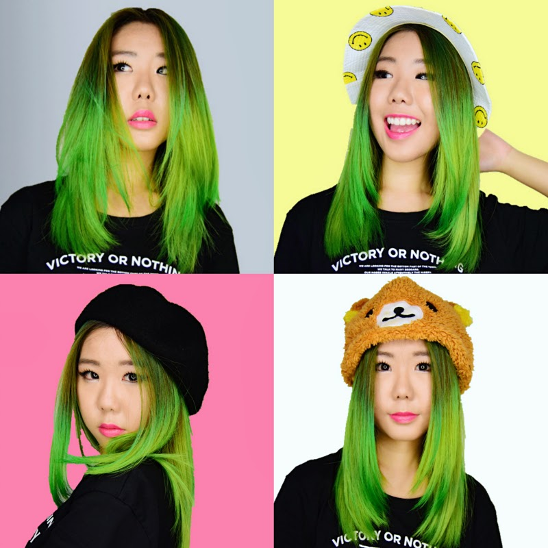 green hair cleo hair and make singapore blog
