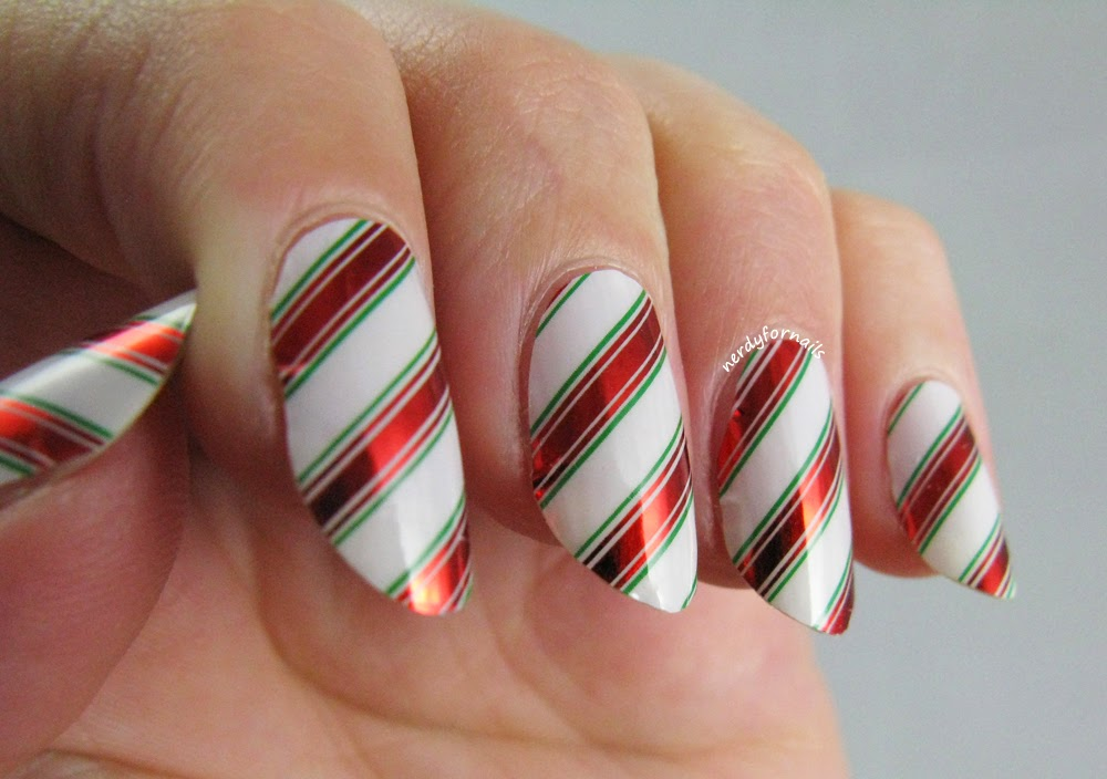 Minx Nails Ribbon Candy Holiday Design