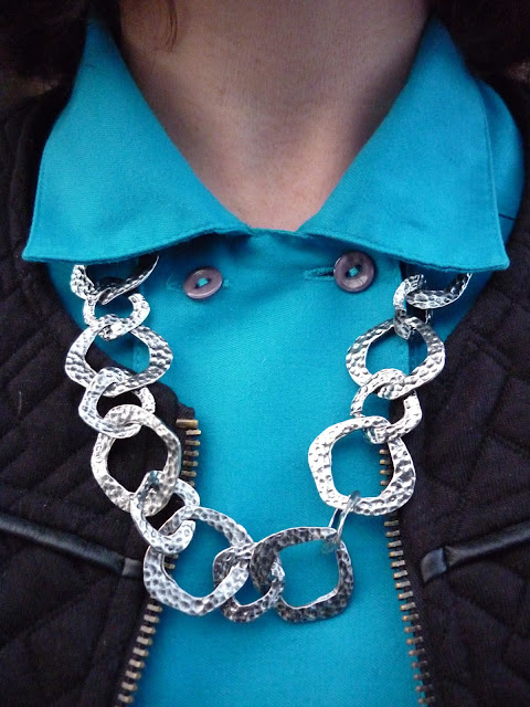 Camaieu Jacket, Marks & Spencer Turquoise Shirt, Hammered Silver Necklace | Petite Silver Vixen