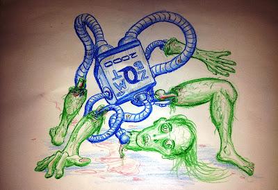 zombie robot, zombie, zombot, zombot 2000, macaroni grill, crayon drawing, crayon drawings, mother's day