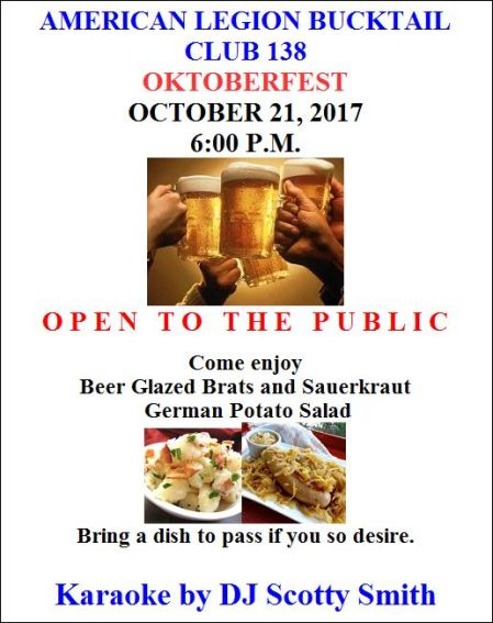 "10-21 American Legion Bucktail Club 138 ""Oktoberfest"""
