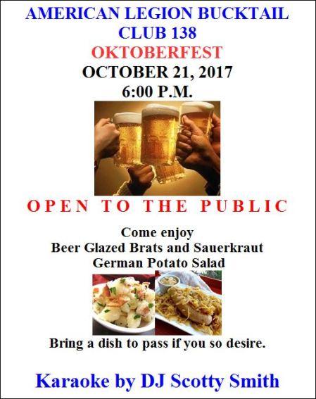 "10-21 American Legion Bucktail Club 138 ""Oktoberfest"""