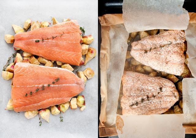 Artičoke in losos v škartocu
