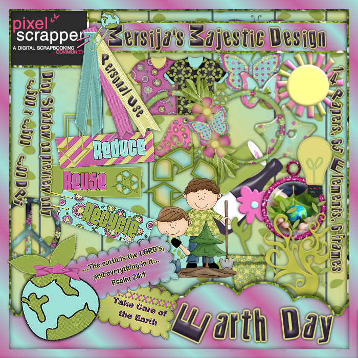 "PixelScrapper blogtrain ""Earth Day"" by Mersija's Magestic D..."