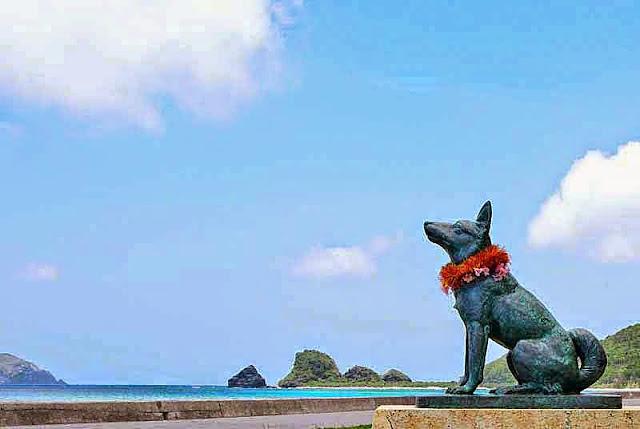 dog, statue, beach