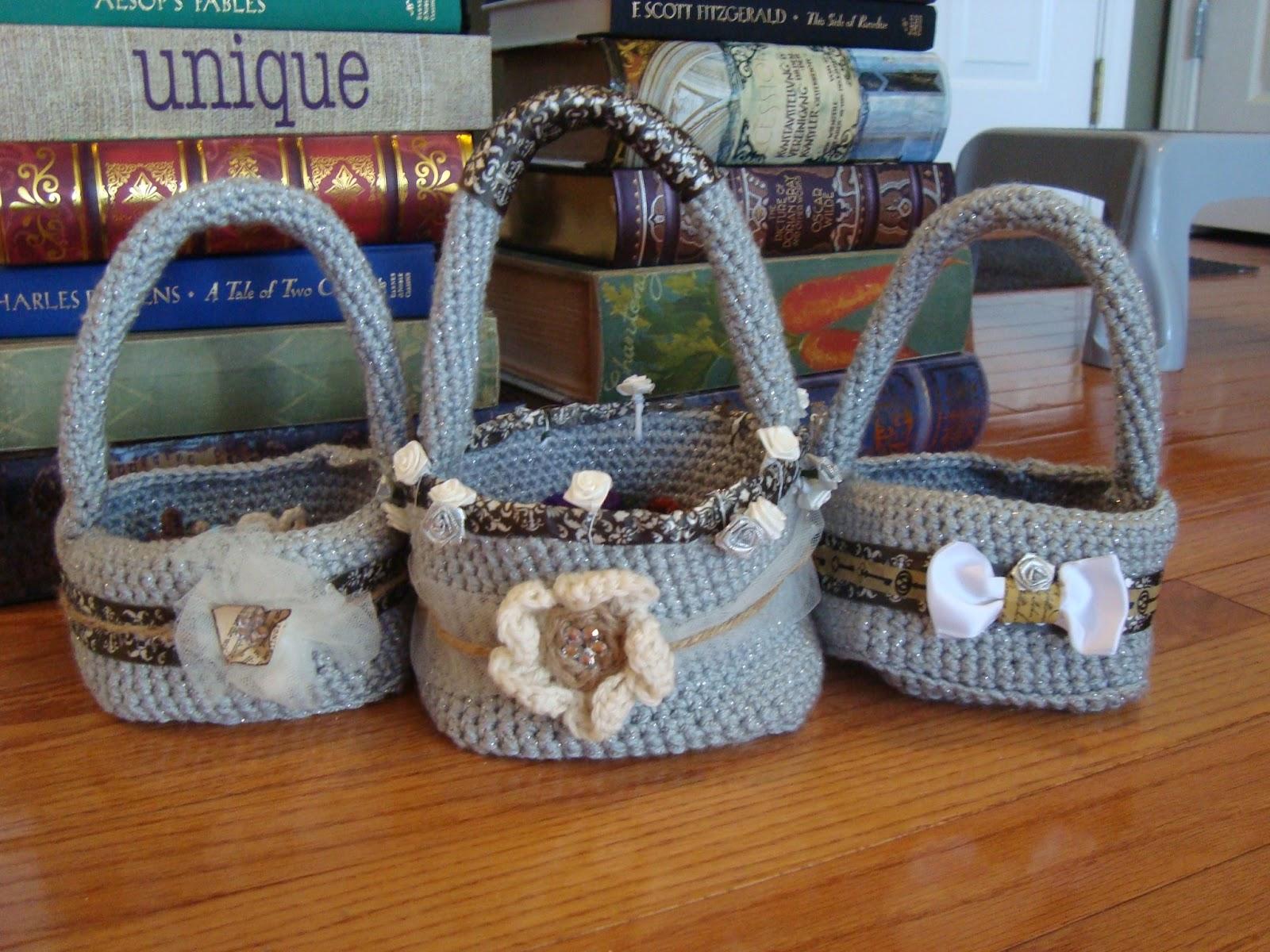 Crochet Flower Girl Basket Pattern : Diy literary wedding crocheted flowers and flower girl