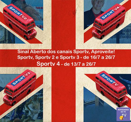 Sportv com sinal aberto em julho