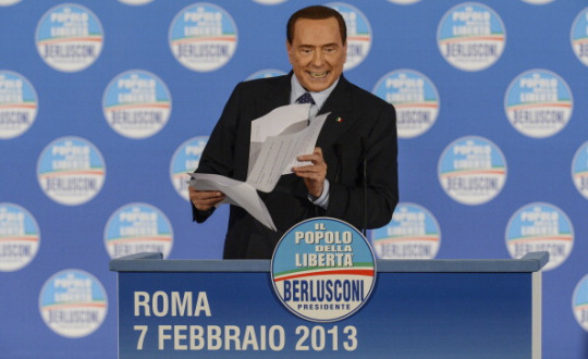 Silvio Berlusconi promising to abolish IMU (and refund the tax paid in 2012)
